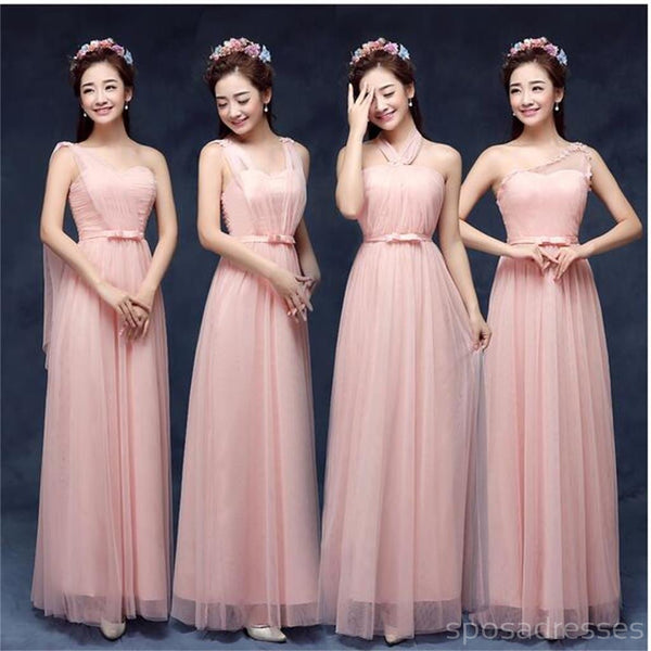 Mismatched Elegant Peach Sort Tulle Long Bridesmaid Dresses, Cheap Custom Long Bridesmaid Dresses, Affordable Bridesmaid Gowns, BD011