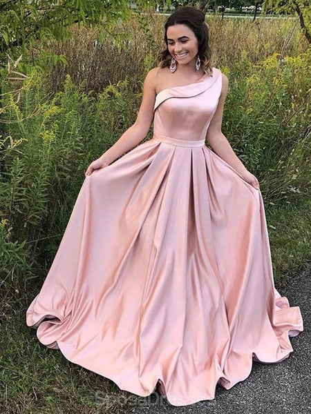 One Shoulder Blush Pink Long Cheap Evening Prom Dresses, Evening Party Prom Dresses, 12333