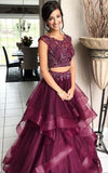 Purple Two Pieces Maroon Bateau A-line Long Evening Prom Dresses, 17560