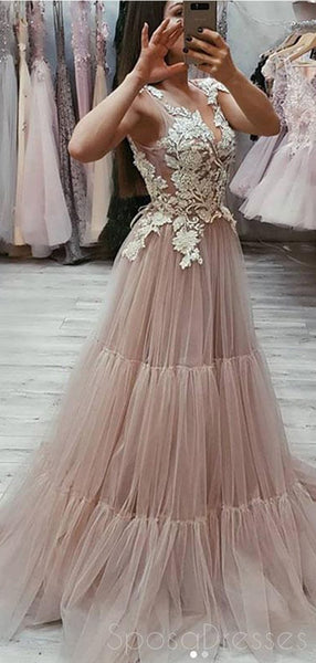Lace V Neck See Through A-line Long Evening Prom Dresses, Cheap Sweet 16 Dresses, 18411