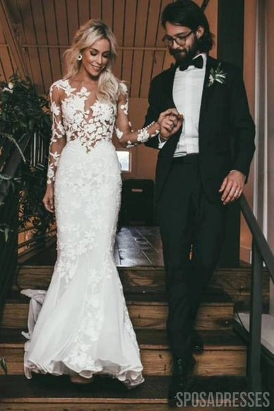 Sexy Long Sleeves See Through Mermaid Wedding Dresses Online, Cheap Wedding Gown, WD661