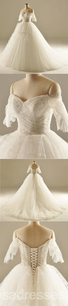 Off Shoulder A line Tulle Wedding Dresses,  2017 Long Sleeve Custom Wedding Gowns, Affordable Bridal Dresses, 18003