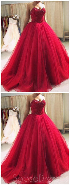 Sweetheart Beaded Burgundy Ball Gown Long Evening Prom Dresses, Cheap Sweet 16 Dresses, 18423