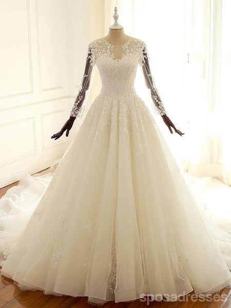 Off Shoulder Sweetheart A-line Lace Long Custom Cheap Wedding Bridal Dresses, WD299