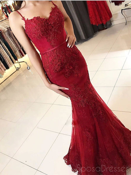 Spaghetti Straps Red Lace Mermaid Long Evening Prom Dresses, 17505
