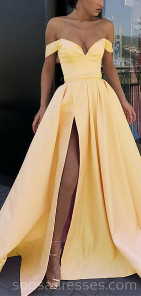 Off Shoulder Yellow Side Slit Cheap Yellow Long Evening Prom Dresses, Party Prom Dresses, 18615