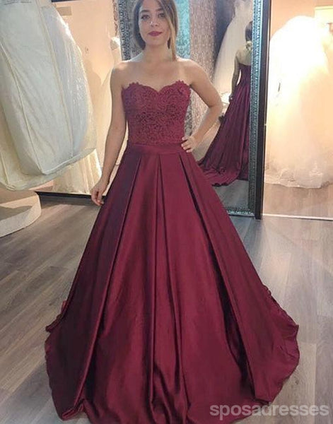 A line Maroon Lace Bodice Long Evening Prom Dresses, Popular Cheap Long 2018 Party Prom Dresses, 17267