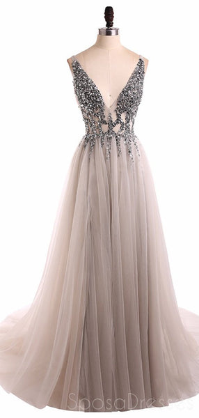 Grey V Neck See Through Beaded Long Evening Prom Dresses, Cheap Sweet 16 Dresses, 18351