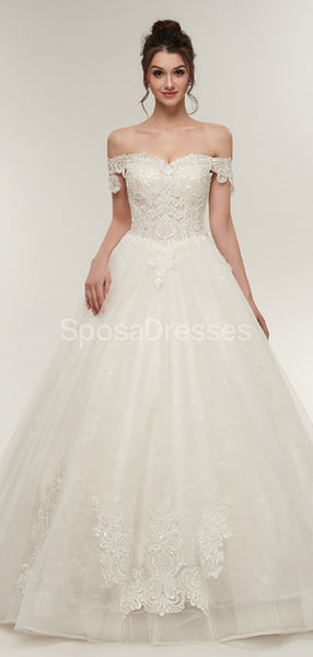 Off Shoulder Lace A-line Cheap Wedding Dresses Online, Unique Bridal Dresses, WD568