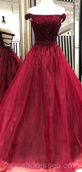 Off Shoulder Beaded Dark Red Long Evening Prom Dresses, Cheap Custom Party Prom Dresses, 18592