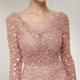 Long Sleeves Lace Mermaid Peach Evening Prom Dresses, Evening Party Prom Dresses, 12020