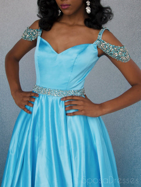 Off Shoulder Blue Beaded A-line Cheap Evening Prom Dresses, Sweet 16 Dresses, 17495