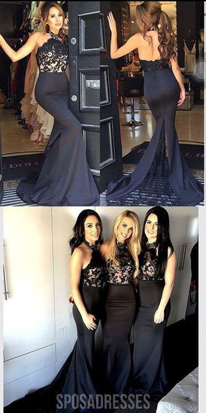 Black Lace Halter Mermaid Sexy Long Affordable Bridesmaid Dresses, WG25