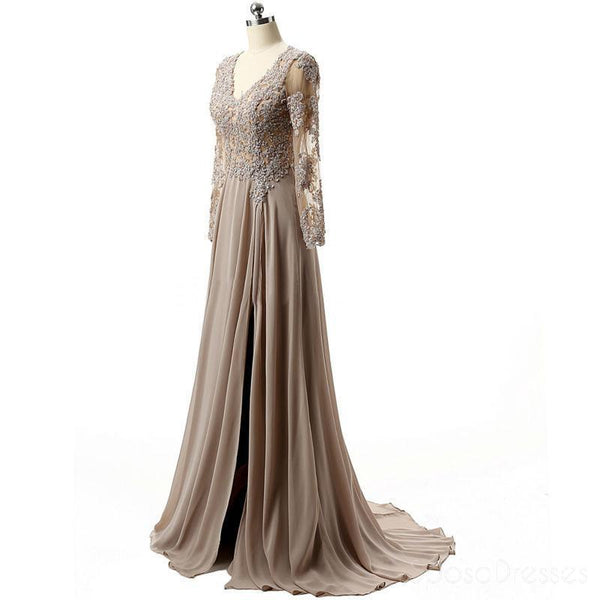 Grey Long Sleeves Lace Side Slit Long Evening Prom Dresses, Cheap Sweet 16 Dresses, 18353