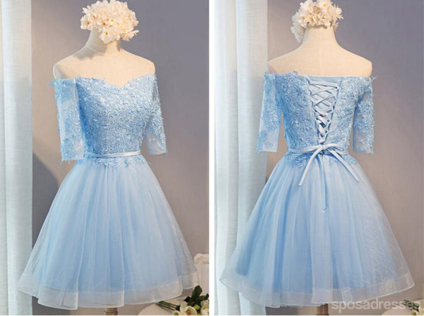 Off Shoulder Short Sleeve Blue Lace Homecoming Prom Dresses, Affordable Short Party Prom Dresses, Perfect Homecoming Dresses, CM287