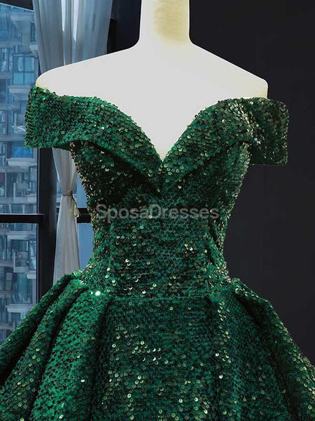 Off Shoulder Emerald Green Sequin Long Evening Prom Dresses, Evening Party Prom Dresses, 12234