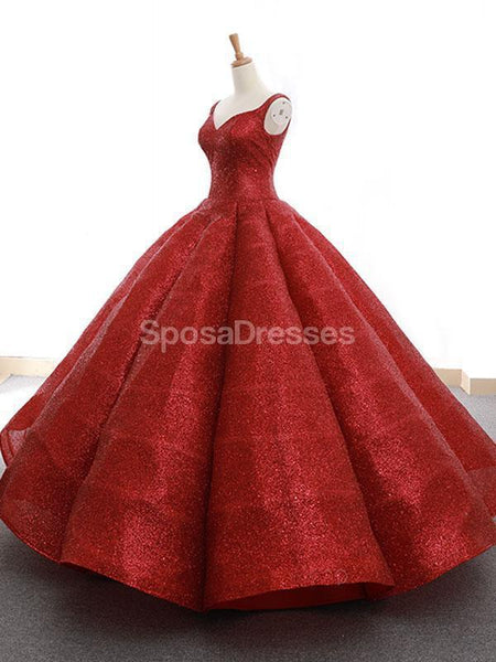 Red V Neck Sparkly Ball Gown Evening Prom Dresses, Evening Party Prom Dresses, 12264