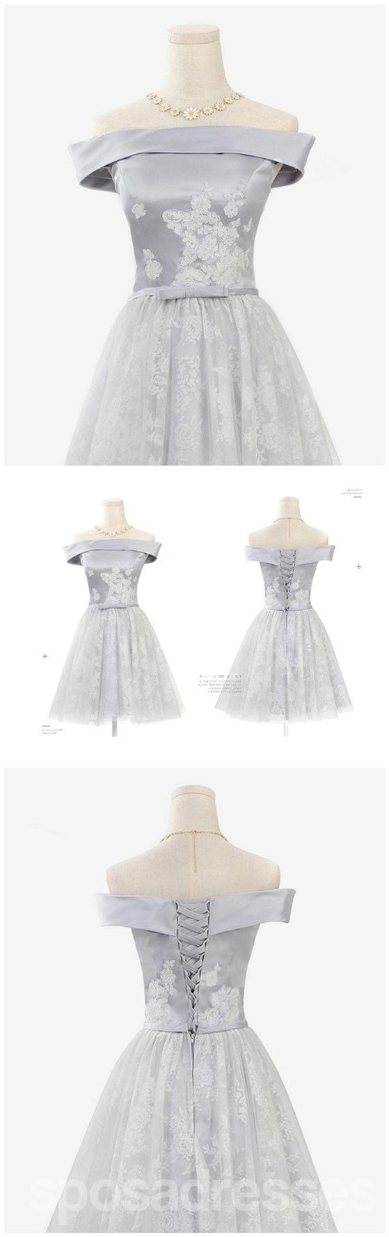 Off Shoulder Gray Lace Cute Homecoming Prom Dresses, Affordable Short Party Prom Sweet 16 Dresses, Perfect Homecoming Cocktail Dresses, CM345