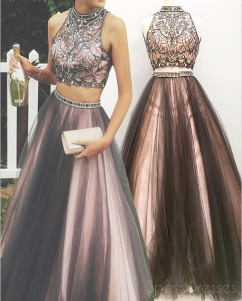 Sexy Two Pieces A line Beaded Evening Prom Dresses, Halter Long Tulle Party Prom Dress, 17085