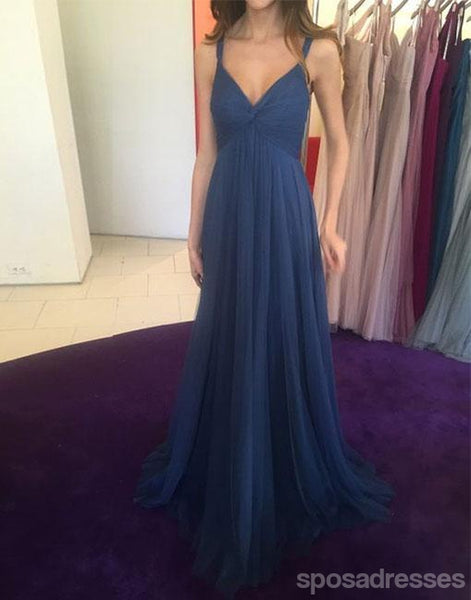 Simple Sexy Open Back Navy Long Evening Prom Dresses, Popular Cheap Long 2018 Party Prom Dresses, 17268