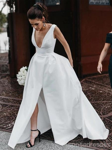 Simple V-Neck A-line Side Slit Cheap Wedding Dresses Online, Cheap Unique Bridal Dresses, WD605