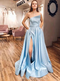 Light Blue Unique Cheap Long Evening Prom Dresses, Evening Party Prom Dresses, 12340