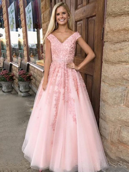 Pink V Neck Short Sleeve Lace A-line Evening Prom Dresses, Sweet 16 Dresses, 17591