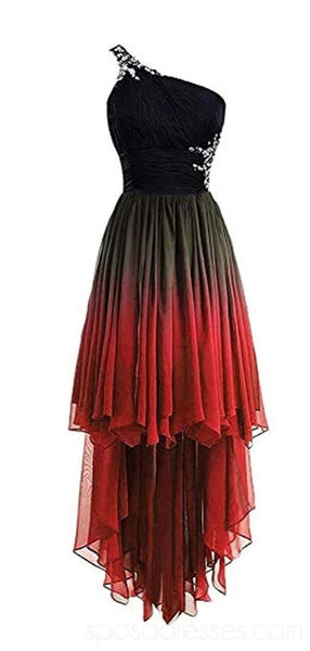 One Shoulder Ombre Chiffon Cheap Homecoming Dresses Online, Cheap Short Prom Dresses, CM787