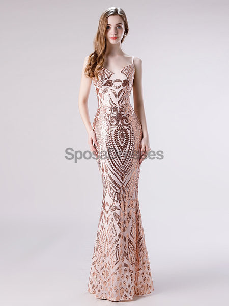 Spaghetti Straps Rose Gold Sequin Mermaid Evening Prom Dresses, Evening Party Prom Dresses, 12114