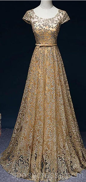Sparkly Gold Short Sleeves Long Evening Prom Dresses, Cheap Custom Sweet 16 Dresses, 18541