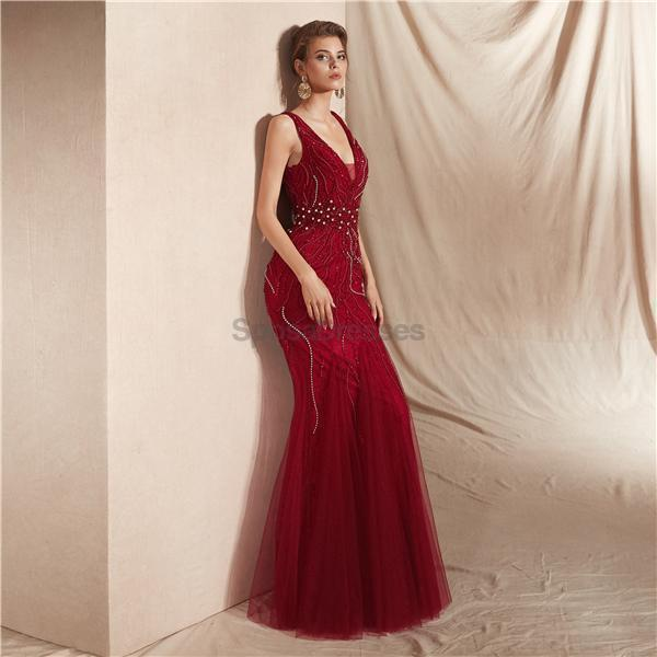 Dark Red V Neck Backless Beaded Mermaid Evening Prom Dresses, Evening Party Prom Dresses, 12065