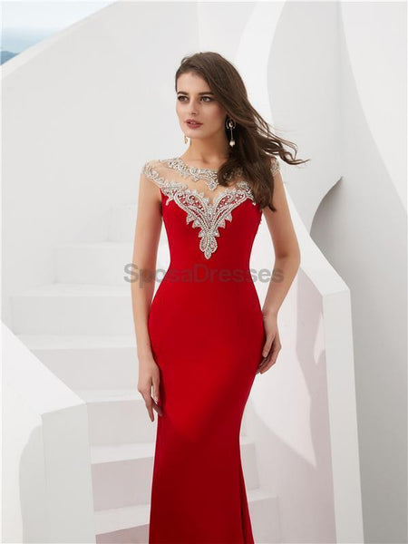 Cap Sleeves Red Beaded Mermaid Evening Prom Dresses, Evening Party Prom Dresses, 12086