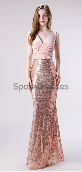 V Neck Rose Gold Sequin Mermaid Evening Prom Dresses, Evening Party Prom Dresses, 12113