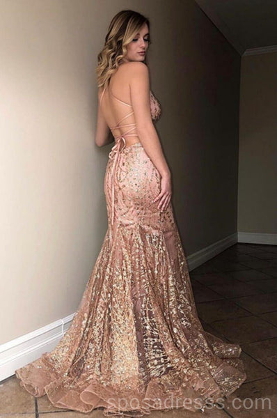 Sexy Backless Sparkly Mermaid Long Evening Prom Dresses, Cheap Custom Sweet 16 Dresses, 18561