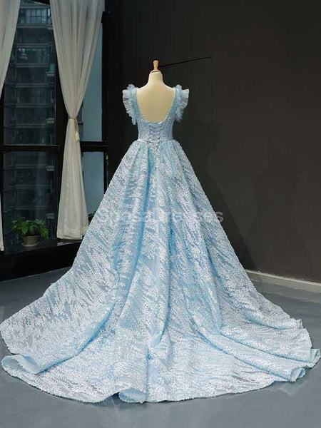 Unique Tiffany Blue A-line Ruffle Long Evening Prom Dresses, Evening Party Prom Dresses, 12235