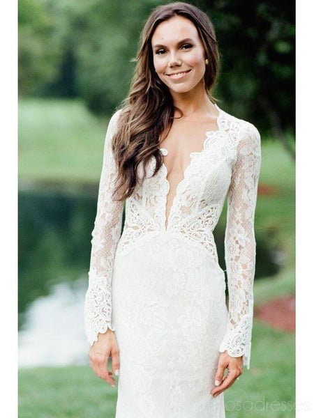 Long Sleeves Lace Mermaid Open Back Sexy Wedding Dresses Online, Cheap Lace Bridal Dresses, WD474