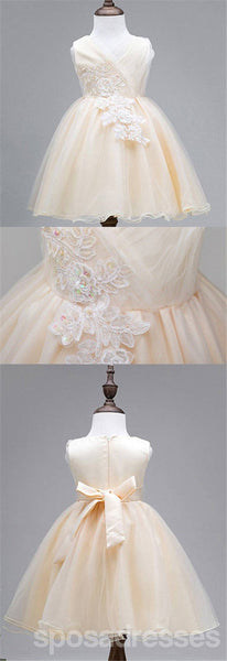 Lace Tulle Cute Flower Girl Dresses, Lovely Affordable Satin Top Little Girl Dresses,  FG035