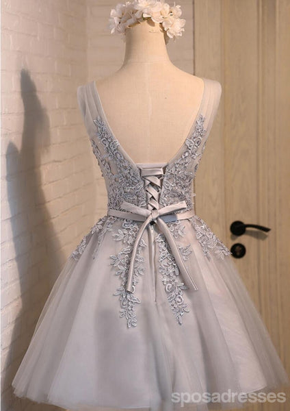 V Neckline Two Straps Grey Lace Beaded Homecoming Prom Dresses, Affordable Short Party Prom Dresses, Perfect Homecoming Dresses, CM288