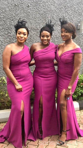 Sexy Hot Pink Side Slit Mermaid Long Cheap Bridesmaid Dresses Online, WG657