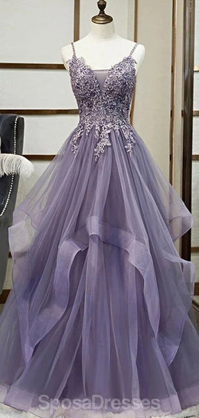 Grey Purple Ruffles Lace Beaded Long Cheap Evening Prom Dresses, Evening Party Prom Dresses, 12335
