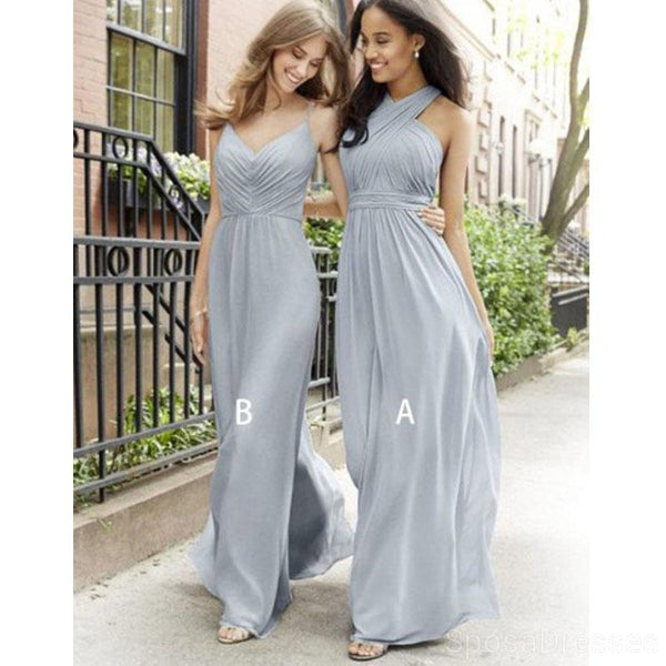 Mismatched Grey Chiffon Cheap Long Cheap Bridesmaid Dresses Online, WG622