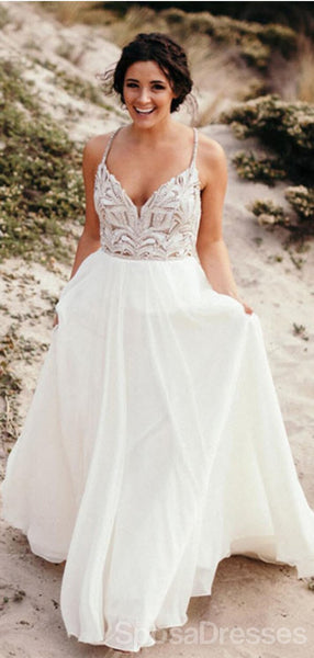 Halter Rhinestone Beaded A-line Cheap Wedding Dresses Online, Cheap Unique Bridal Dresses, WD604