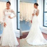 Round Neck Backless Long Sleeve White Lace Sexy Mermaid Wedding Party Dresses, WD0023