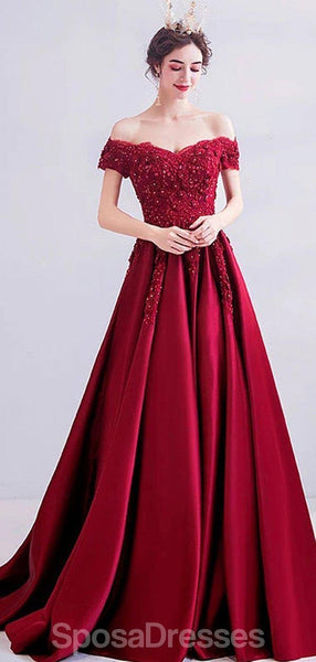 Dark Red Off Shoulder Lace Beaded Evening Prom Dresses, Evening Party Prom Dresses, 12206