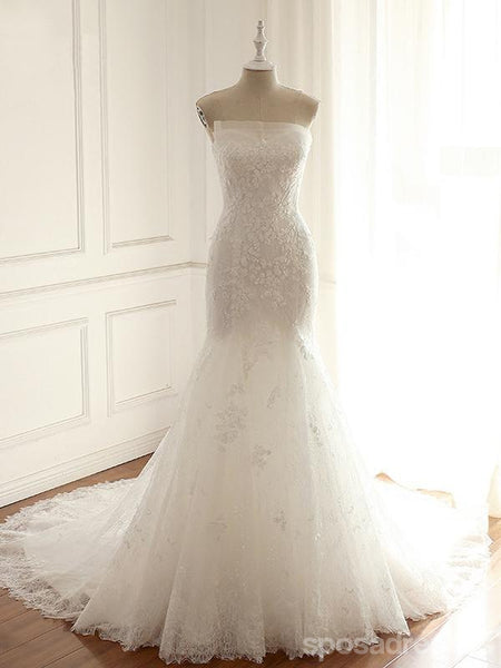 Lace Mermaid Long Custom Cheap Custom Wedding Dresses, WD306