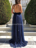 Sexy Backless Spaghetti Straps Glitter Evening Prom Dresses, Evening Party Prom Dresses, 12281