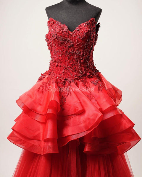 Red Lace Beaded Ruffles A-line Long Evening Prom Dresses, Evening Party Prom Dresses, 12306
