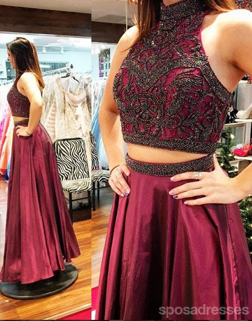 Sexy Two Pieces Dark Red Heavily Beaded Long Evening Prom Dresses, Popular Cheap Long 2018 Party Prom Dresses, 17269