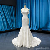 Off Shoulder Short Sleeves Lace Mermaid Wedding Dresses, Cheap Wedding Gown, WD714