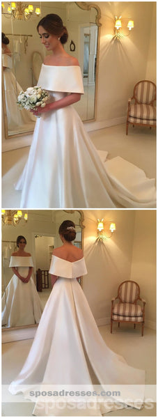 Simple Off Shoulder A-line Cheap Wedding Dresses Online, Cheap Bridal Dresses, WD445